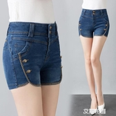高腰牛仔短褲女2019夏季新款緊身百搭刺繡休閒彈力修身熱褲『艾麗花園』