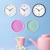 日系時尚馬卡龍掛鐘彩色北歐時鐘創意可愛簡約小清新鐘錶 wy 年貨慶典 限時鉅惠