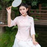 唐裝上衣 中國風上衣春夏季中式民國改良繡花唐裝旗袍T恤女裝茶服 原本良品
