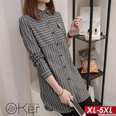 貓咪LOGO立領條紋拼接長袖長版襯衫 XL-5XL O-ker歐珂兒 158134