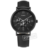 TIMEX 天美時 / TXTW2T35200 / 羅馬刻度 三眼設計 礦石強化玻璃 日期 星期視窗 真皮手錶 黑色 41mm