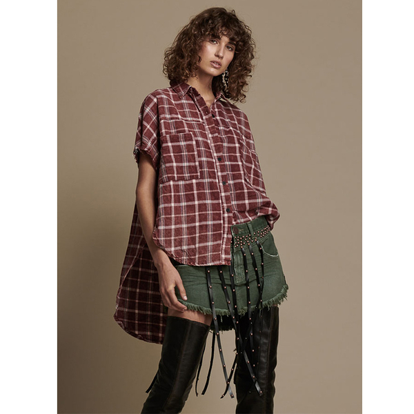 ONETEASPOON OXBLOOD CHECK STONED DARIA CUT OFF SHIRT  短袖襯衫-格紋(女)