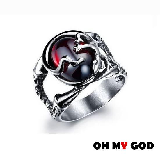 OH MY GOD紅寶石鑲壁虎鈦鋼戒指