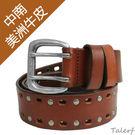 TALERF雙排鉚釘單層皮帶(紅棕色/共2色)-情侶-女 /真皮 牛皮/台灣製造