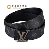 【雪曼國際精品】LV M9043W INITIALES 花紋LOGO帆布雙面設計扣式皮帶(黑)~二手9.8成新(近新)