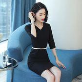 職業洋裝 女氣質夏商務通勤收腰黑色七分袖時尚修身OL工作服套裝 Mt9543『紅袖伊人』