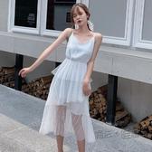洋裝 2020夏季新款韓版純色拼接網紗吊帶裙無袖不規則中長款內搭洋裝 中秋節