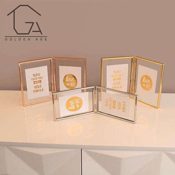 金屬相框 ins北歐簡約折疊兩連透明玻璃金屬相框5寸6寸精致家居飾品