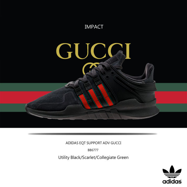 huge discount c028f fbf98 IMPACT Adidas EQT Support ADV Shoes GUCCI 黑紅綠古馳慢跑 ...