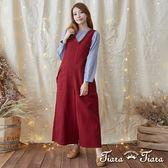 【Tiara Tiara】激安 V領單肩造型長吊帶褲裙(紅/黑)