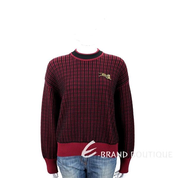KENZO Jumping Tiger 補丁老虎飾黑紅雙色針織羊毛衫 1840046-26