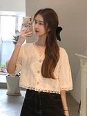 襯衫 春季2021年新款韓版甜美襯衣V領短款溫柔系長袖蕾絲衫女襯衫上衣 夢藝家