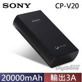【免運費】SONY CP-V20B 20000mAh 2USB輸出埠 3A 行動電源(黑色)X1台【採Sony鋰離子聚合物技術】