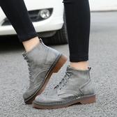 女短靴 韓版女鞋子 新款英倫風女系帶平底短靴厚底休閒學生女靴潮馬丁靴《小師妹》sm3326