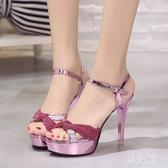 新款涼鞋女性恨天高粗跟防水臺14cm公分走秀高跟涼鞋 yu1866『男人范』