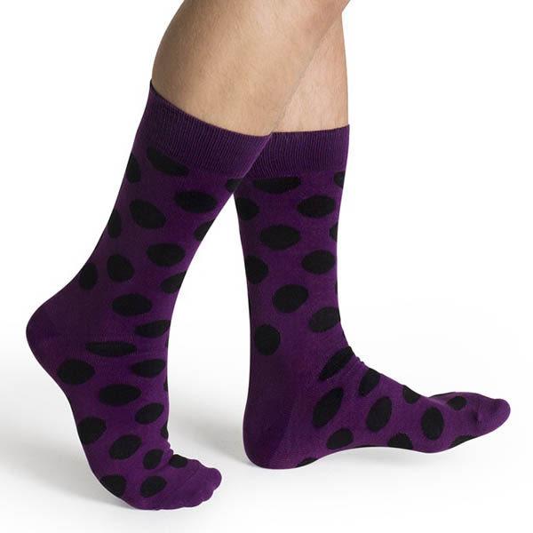 『摩達客』瑞典進口【Happy Socks】紫底黑圓斑中統襪(60112081010)