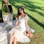 魚尾連衣裙女法式泡泡袖夏季氣質高腰收腰復古中長款大擺裙【橘社小鎮】