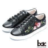 ★新品上市★【bac】時尚休閒 搶眼刺繡真皮綁帶休閒鞋(黑色)