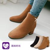 韓系街頭個性金屬裝飾麂皮粗跟短靴/3色/35-43碼(RX1066-6-57) iRurus 路絲時尚