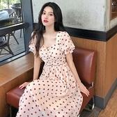 洋裝 波點連身裙收腰顯瘦氣質仙女森系長裙子DJB01依佳衣