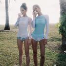 Qmigirl 泳裝【WET211】二件套泳衣 防曬長袖度假泳衣 溫泉 沙灘 BIKINI