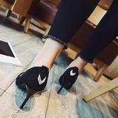 高跟鞋 細跟春秋季新款尖頭絨面水鑽單鞋黑色淺口女鞋《小師妹》sm2022