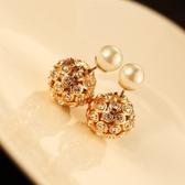 耳環 玫瑰金純銀鑲鑽-時髦滿鑽生日情人節禮物女飾品73ca108【時尚巴黎】
