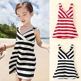 無袖洋裝 韓版女童黑白條紋吊帶洋裝 S77021 AIB小舖