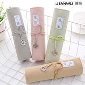 捲筆簾韓國學生可愛捲筆袋筆袋文具盒