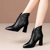 裸靴靴子女靴2021網紅瘦瘦靴高跟短靴時尚尖頭磨砂粗跟歐美裸靴蝴蝶結 雲朵走走