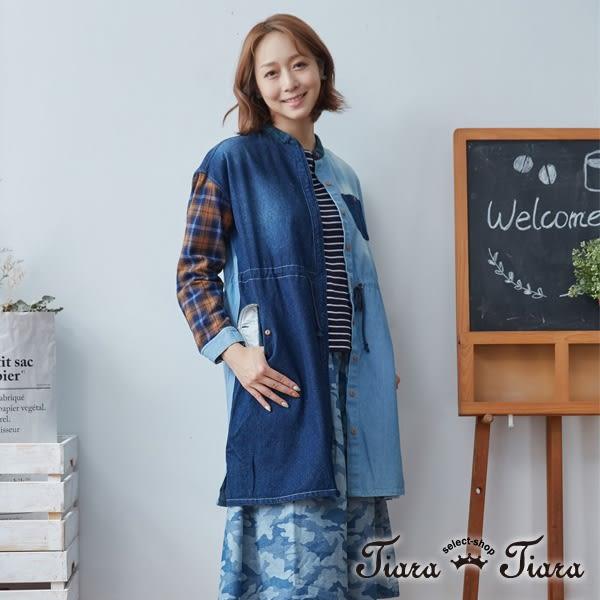【Tiara Tiara】百貨同步 拼貼風牛仔布罩衫洋裝(藍)