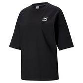 PUMA CLASSICS 女裝 短袖 休閒 歐規 寬版 基本款 棉質 黑【運動世界】59957901