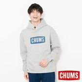 CHUMS 日本 男 LOGO 兜帽套頭衫 帽T 淺灰 CH001085G005