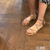 涼鞋 夏季韓版ulzzang網紅軟妹綁帶涼鞋女學生百搭仙女風平底羅馬鞋潮 3C優購
