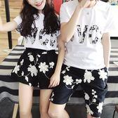 沙灘情侶裝 情侶裝夏裝 新款沙灘海邊度假套裝韓版女短裙子男短袖t恤一套 歐萊爾藝術館