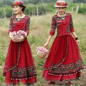 洋裝田園中國風兩件套女裝春秋季新款t恤上衣 網紗流蘇半身裙紅色套裝全館免運