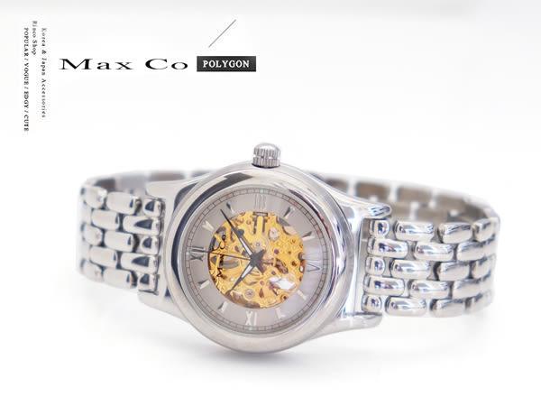 【完全計時】手錶館│Max Co 時尚鏤空雕花手動上鍊機械錶 底蓋鏤空 金色款 MA2071-ST