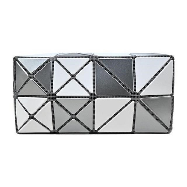 【南紡購物中心】ISSEY MIYAKE 三宅一生 BAOBAO 雙色格紋化妝包-白X銀