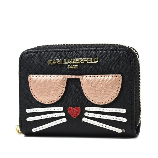 美國正品 KARL LAGERFELD 金字貓咪防刮皮革拉鍊卡包/零錢包-黑色【現貨】
