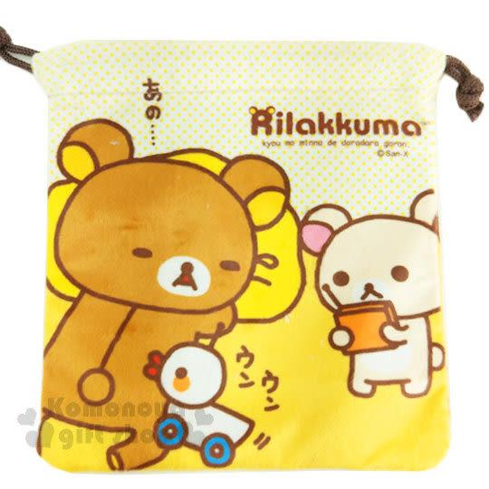 〔小禮堂〕拉拉熊 絨布束口袋《黃.睡覺.牛奶熊.遙控小鴨》 4718733-21106