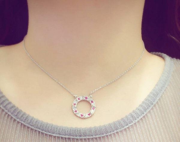 S925純銀百搭時尚圓圈鏤空鑲鑽鋯石項鍊 (0456) 二色