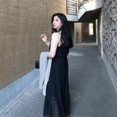 微胖mm 夏季雪紡吊帶連衣裙大碼女裝V領黑色顯瘦過膝長裙子