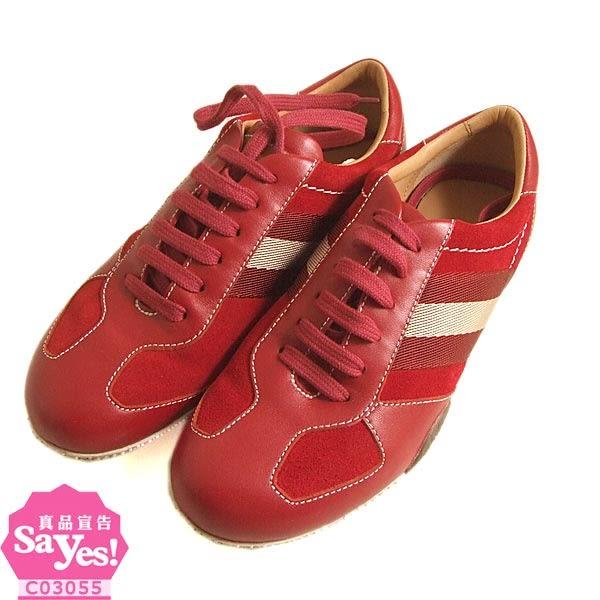 【奢華時尚】BALLY 經典紅白刷紋女用紅色皮革休閒鞋(九成新)#19414