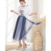 【南紡購物中心】CANTWO飄逸雙色拼接網紗拼接長裙 - 灰藍