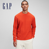 Gap男裝 純棉華夫格長袖T恤 713556-橘紅色