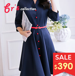 【brs】 復古 紅扣 優雅 深藍色 V領 連身裙 洋裝 現貨