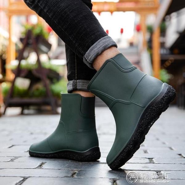 時尚男雨鞋中筒雨靴防滑水鞋短筒加絨膠鞋廚房洗車釣魚工作鞋  聖誕節免運