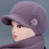 冬天帽子女奶奶兔中老年人媽媽加絨厚保暖帽老太太針織棉帽 【快速出貨】