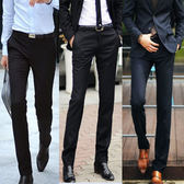 夏季商務男士西褲直筒修身黑色西裝褲小腳正裝免燙薄款西服褲子潮