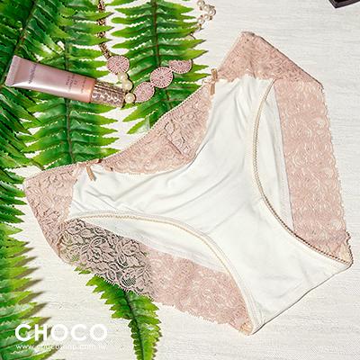 Choco Shop-美夢旅程‧彈力蕾絲花邊棉質內褲(白色)  S~L